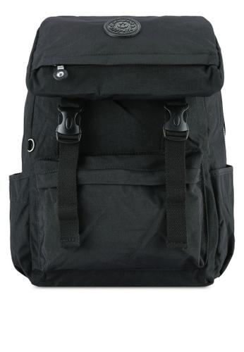 Bagstationz black MDS Crinkled Nylon Fabric Backpack BA607AC0S67CMY_1
