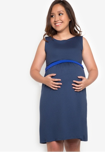 Nine Months blue Maternity Nica Nursing Dress NI270AA90UZTPH_1