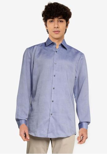 BOSS 藍色 Isko Long Sleeve Shirt - BOSS Men 9029EAA989A60FGS_1