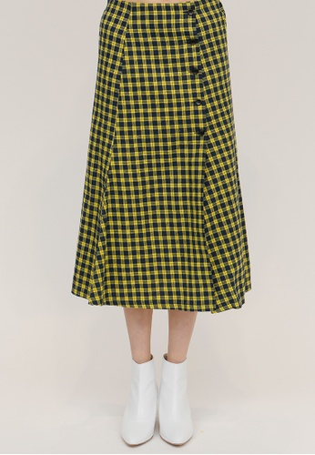 OUTSTANDING ORDINARY yellow and navy Few Check Button Midi Skirt OU203AA26DCJSG_1