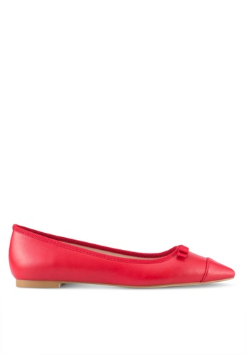 Velvet 紅色 Faux Leather Point Toe Flats BD2DASH78A222EGS_1