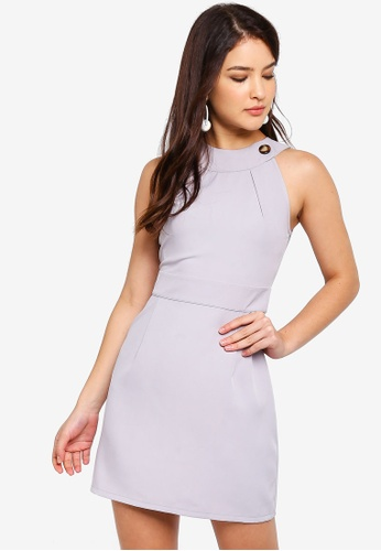 ZALORA grey Cut In Sheath Dress 015AFAA715DCDDGS_1