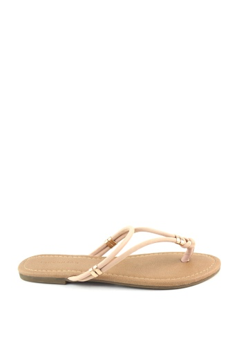 London Rag beige Toe Post with Gold Trims 51723SH3530039GS_1