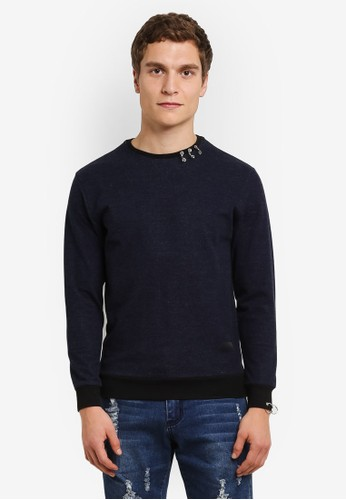 Flesh IMP navy Round Rings Sweater FL064AA0RTOSMY_1