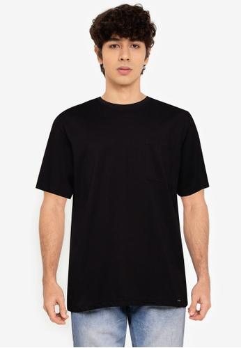 UniqTee black Crew Neck Tee with Side Pocket E41CCAA90887C5GS_1