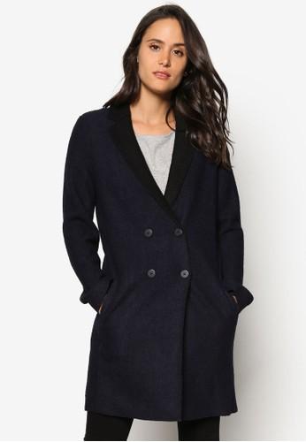 雙排鈕輕量長版西zalora 衣服尺寸裝外套, 服飾, 夾克 & 大衣