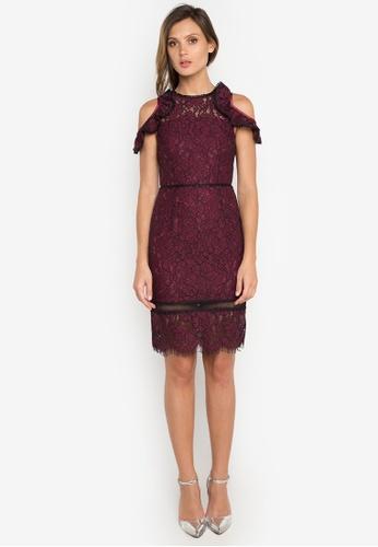 NOBASIC red Ruffled Wine Lace Dress NO444AA0FQHLSG_1