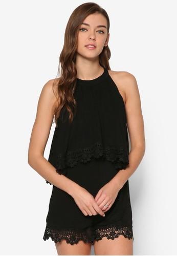 Marisoesprit 品質l 削肩蕾絲層次連身褲, 服飾, 連身褲