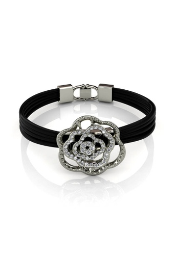 Her Jewellery black and silver Swarovski® Crystals - Rosy Bracelet (White Gold)(18K White Gold Plated) Her Jewellery HE581AC0RAZEMY_1