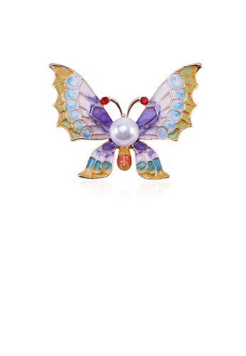 Glamorousky white Fashion and Elegant Purple Butterfly Brooch with Imitation Pearls 1562DACD82D7CBGS_1