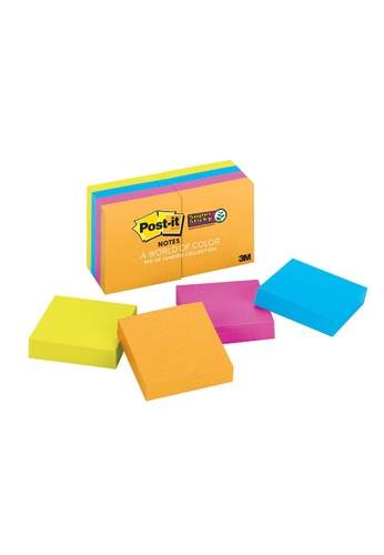 Post-IT 3M Post it Super Sticky Notes 2 in x 2 in, Rio de Janeiro Collection, 8 Pads/Pack, 90 SHEETS/PAD 622-8SSAU B517FHLBFD79D1GS_1