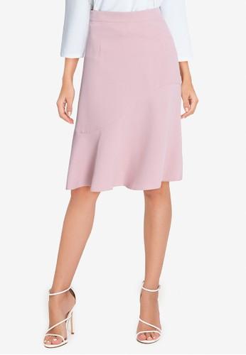 ZALORA WORK pink Fluted Hem Skirt AB737AAD5AFB21GS_1