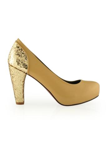 Gripz beige and gold Gitto Round Toe Glitter Combi Heels GR357SH0GVY8SG_1