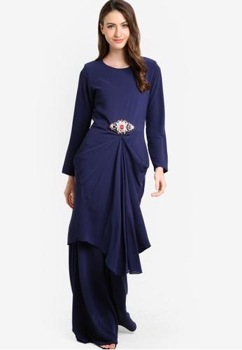 Zuco Fashion blue and navy Mini Ruched Kurung ZU882AA20HBZMY_1