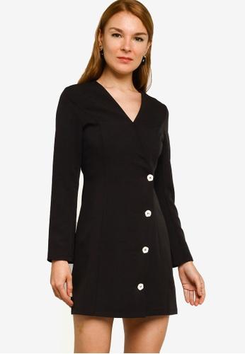 ZALORA WORK black Long Sleeve Wrap Mini Dress 8E68CAA2D85B19GS_1