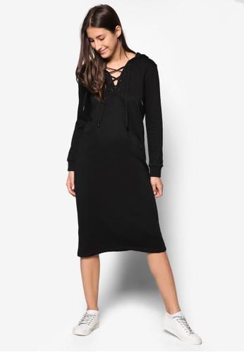 交叉繫帶連帽及esprit tw膝連身裙, 服飾, 洋裝