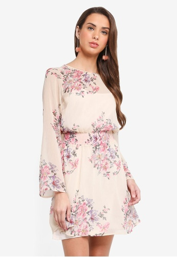 Miss Selfridge multi Shirred Floral Mini Dress AFD22AA35A2F5DGS_1