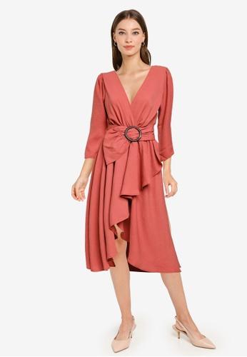 Goddiva pink High Low Wrap Style Midi Dress 4EDB6AAF53757AGS_1