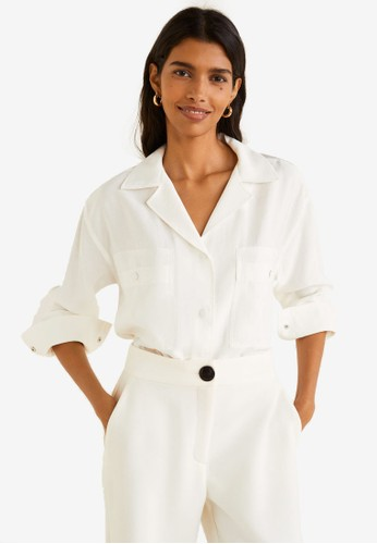 Mango white Chest Pocket Modal Shirt 75A05AACFCAE92GS_1