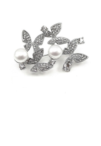 Glamorousky silver Elegant Butterfly Brooch with Silver Austrian Element Crystal and Fashion Pearl AE0FBACD21EC76GS_1
