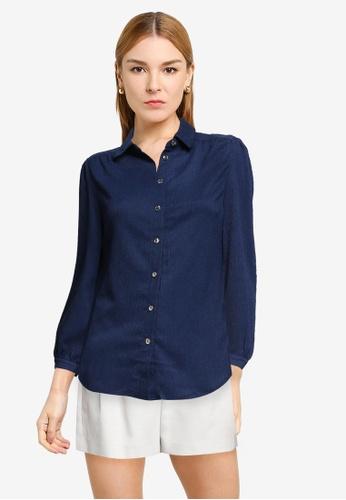 Dorothy Perkins navy Navy Plain Fauchette Shirt 60578AA36798CFGS_1