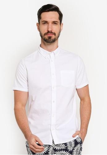 Burton Menswear London 白色 緊身短袖牛津襯衫 42FEFAAA087F98GS_1