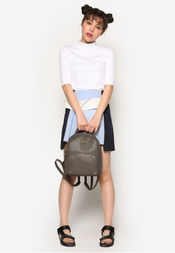 韓系時esprit分店尚色塊褶飾迷你短裙, 服飾, 牛仔褲