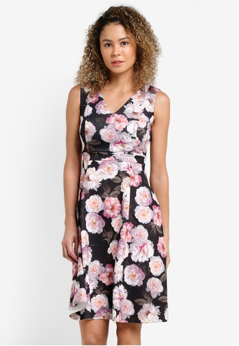 Dorothy Perkins black and multi Petite Lilac Floral Prom Dress DO816AA24XQPMY_1