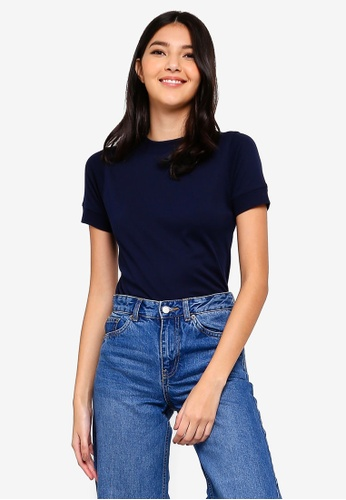 UniqTee navy Ribbed High Neck Tee 22A71AAC138121GS_1
