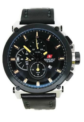 Swiss Navy Jam Tangan Pria Hitam Kuning Leather Strap SN 8935