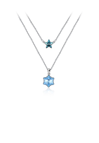 Glamorousky blue 925 Sterling Silver Snowflake Star Double Necklace with Austrian Element Crystal 21341ACE451084GS_1