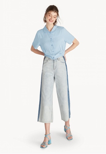 f92706642 Shop Pomelo Cropped Button Down Shirt - Light Blue Online on ZALORA  Philippines