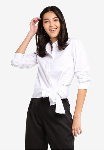b0e40aa5b1aec Shop ZALORA Long Sleeves Shirt With Tie Front Online on ZALORA Philippines