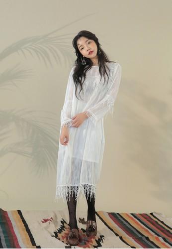 韓系zalora 評價時尚蕾絲長袖連身裙, 服飾, 洋裝