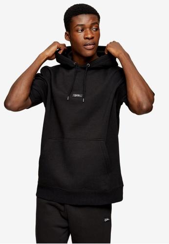 Topman black Signature Black Badge Hoodie 4F10EAA677B7A5GS_1