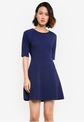 ZALORA navy Essential Elbow Sleeve Fit & Flare Dress 22312AA498EAF0GS_1