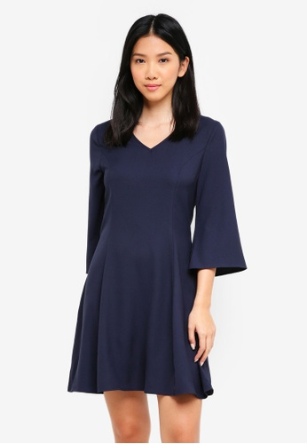 ZALORA navy V Neck Fitted A Line Dress 3495CAAA1BB483GS_1
