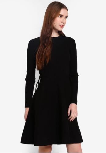 Hopeshow black Long Sleeve Knitted Midi Dress E1B22AA86D00A7GS_1