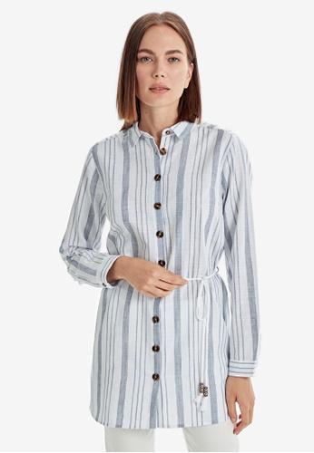 LC Waikiki blue Belted Striped Cotton Shirt 1EF60AA50FD2FCGS_1