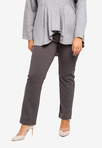 Gene Martino black Plus Size Straight Cut Pants F4C52AAF7B1BC6GS_1