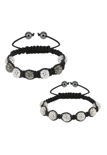 Her Jewellery grey and white Shamballa Bracelet Set Bundle (Grey + White) 28F75AC74AB9F5GS_1