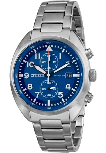 Citizen silver Citizen Eco-Drive CA7040-85L Blue and Silver Stainless Steel Watch 1A4ADACA2F5724GS_1