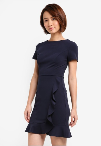 Lipsy navy Ruffle Front Work Wear Shift Dress E5498AA58A5D41GS_1