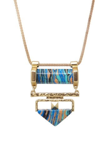 Jaysa Collection gold Matt Gold Necklace With Color Stone JA875AC0GWT2SG_1