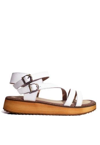 Twenty Eight Shoes 白色 真皮搭帶厚底涼鞋 VS6668 15762SHC09B728GS_1