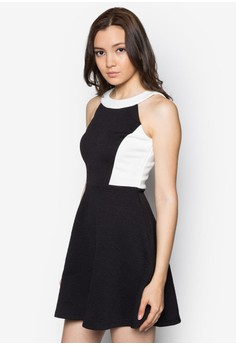 Panel Colourblock Fit And Flare Dress