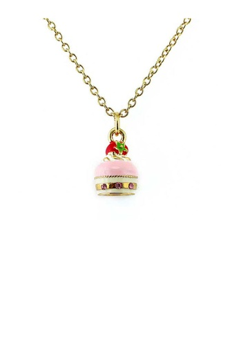 Glamorousky pink Glistering Strawberry Cake Pendant with Pink CZ and Necklace D39A5AC83EF609GS_1