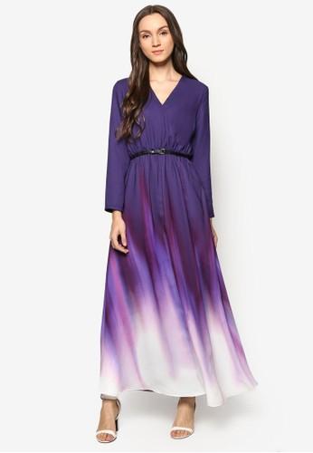 裹飾V 領漸層色連esprit hong kong身長裙, 服飾, 女性服飾