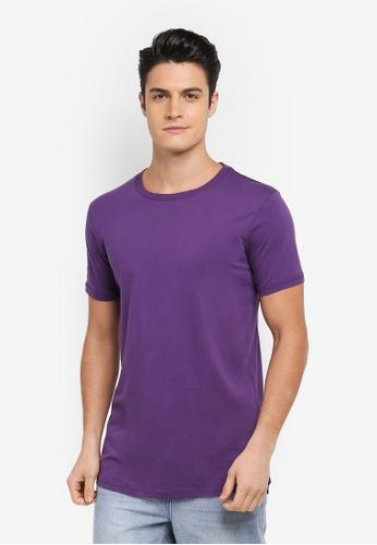 Cotton On purple Essential Longline Curved Hem Tee E459FAA5E6BC62GS_1