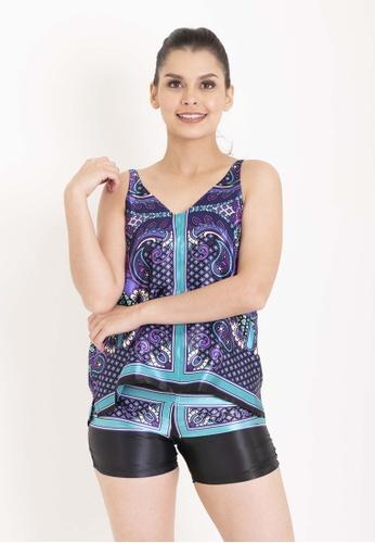 Chain purple Paige Top And Jill Bottom With Dark Purple And Light Blue Prints Satin Pajama Set 6E9A5AA05583B3GS_1